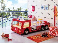 Kinderbett Auto für kleine Kinder-rotes Holzgestell-Feuerwehrwagen
