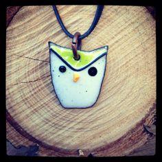 Enamel owl pendant