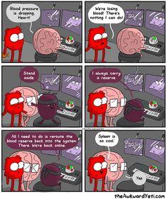The Awkward Yeti comics Spleen Akward Yeti, The Awkward Yeti, Medical Humor, Nurse Humor, Phd Humor, Cute Comics, Funny Comics, Heart And Brain Comic, Funny Jokes