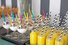 Baby's Birthday Brunch, drinks, RAWR Magazine - Orange juice w/paper straws, greek yogurt w/granola and blueberries