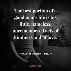 The best portion of a good man's life is his little, nameless, unremembered acts of kindness and of love.