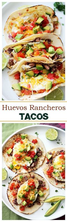 Huevos Rancheros Tacos | http://www.diethood.com | Soft tortillas stuffed with homemade refried beans, eggs, green chilies, tomatoes, cheese and diced avocados. Simple and incredibly delicious!