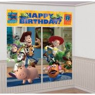 """Toy Story 3 Scene Setters - Party City *used this as decor for Riley's bedroom, just didn't put up the """"Happy Birthday."""" He LOVES it! Toy Story Theme, Toy Story 3, Toy Story Birthday, Toy Story Party, Happy Birthday, 3rd Birthday, Birthday Ideas, Birthday Parties, Birthday Celebration"""