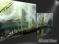 Tableau Horizon Tableau Design, Aquarium, Collage, Design Moderne, Urban, Modern Paintings, Wall Art, Green, Paint