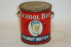 Nice Old Litho 2 lb. School Boy Peanut Butter Pail Advertising Food Tin Can