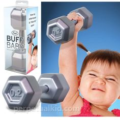 "Buff Baby Dumbbell Rattle, $7.99 from Perpetual Kid -- Your little one's curiosity will be piqued by the gentle rattle sound and natural hand-grips, while your sense of irony will be satisfied by watching Junior do 3 sets of 10.  So… work it, baby! Measures 5.5"" long x 2"" wide. No phthalates, no BPA, safe for baby."