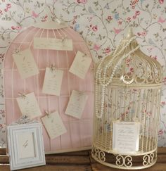 Birdcage table plan and post box. The table plan backing is available in pink, green and cream.