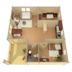 Riga - EZ Log Structures Micro House Plans, Sims House Plans, Small House Plans, House Floor Plans, Small House Layout, Tiny House Design, House Layouts, Cabin Design, Model House Plan