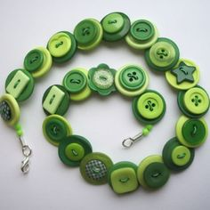 Dark green and lime green button necklace by Noodlefish Crafts on Folksy Wire Jewelry, Jewelry Art, Beaded Jewelry, Handmade Jewelry, Jewlery, Jewelry Necklaces, Diy Buttons, Vintage Buttons, Button Art