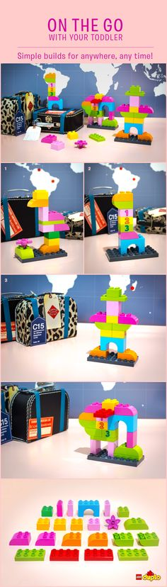 You don't need your toddler's whole LEGO DUPLO set to build something really imaginative. Look at these fun characters, made from 15 bricks or less… perfect for when you're on the go! http://www.lego.com/en-us/family/articles/pretty-strong-in-pink-aadb76880c884351a500bc5faa6c8647
