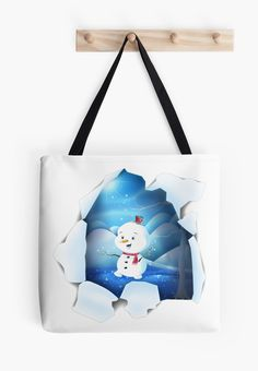 Shop Tear It! ~ Snowbaby Line #Tote #Bags LARGE designed by We~Ivy. #winter #frozen #ice #snowman #blue #sparkling #glitter #tear #hole #flippy #funky Large Bags, Small Bags, Cotton Tote Bags, Reusable Tote Bags, Presents For Friends, Makeup Pouch, My Themes, Website Themes, Good Cause