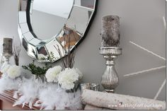 Birch logs, Mercury Glass and DIY Yarn Snowflakes Decorate a Winter Mantle from Setting for Four  #decor #mantle