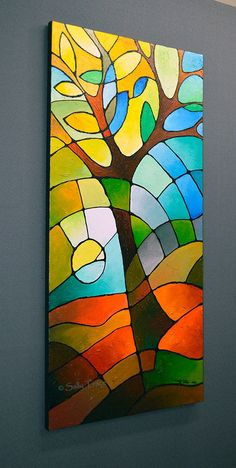 """Summer Tree"" a textured geometric painting of a tree in an abstracted landscape…"