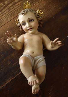 Etsy のInfant Child Jesus Niño Christ Glass Eyes Nativity Christmas Olot Spain Antique Religious /809(ショップ名:GliciniaANTIQUE)