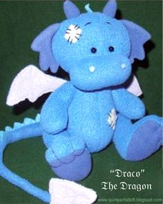 Sewing Stuffed Animals Quirky Artist Loft: Free Pattern: Draco The Dragon Sewing Toys, Baby Sewing, Sewing Crafts, Sewing Projects, Sewing Stuffed Animals, Stuffed Animal Patterns, Handmade Stuffed Animals, Plushie Patterns, Doll Patterns