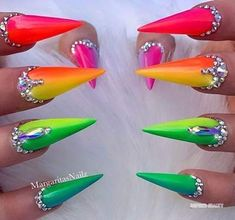 Nail Design Spring, Spring Nail Colors, Spring Nail Art, Rainbow Nails, Neon Nails, Bling Nails, Nail Polish Designs, Acrylic Nail Designs, Nail Art Designs