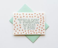 Hand Stitched Thank You Card Blank Inside by SarahKBenning on Etsy, $7.00