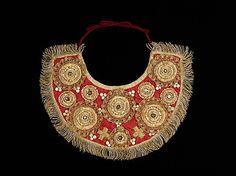 Collar Date: 1830–80 Culture: Russian Medium: silk, mother-of-pearl, metal semi-precious stones, pearls Dimensions: 11 x 5 in. (27.9 x 12.7 cm)
