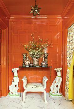 Orange Red Lacquer Lacquered Walls Atlanta Homes Magazine Chinoiserie Happy Colors, Bold Colors, Design Entrée, Foyer Design, Architecture Restaurant, Architecture Office, Restaurant Design, Driven By Decor, South Shore Decorating
