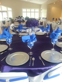 Royal blue and purple (regency) wedding reception