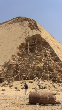 The Bent Pyramid is an ancient Egyptian pyramid located at the royal necropolis ofDahshur, approximately 40 kilometres south of Cairo, built under the Old Kingdom PharaohSneferu (c. 2600 BC). A unique example of early pyramid development in Egypt, this was the second pyramid built by Sneferu. Wikipedia