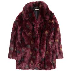 H&M Faux fur jacket (€105) ❤ liked on Polyvore featuring outerwear, jackets, coats, clothes - outerwear, burgundy, burgundy jacket, h&m, multi color jacket, colorful jackets and lined jacket