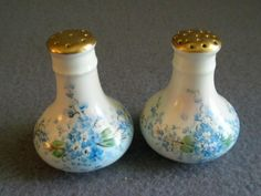 """Luken Studio Hand Painted """"Forget-Me-Not"""" Pattern Pair of Salt & from brysantiques on Ruby Lane"""
