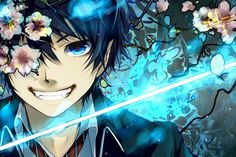 Tags: Anime, Glow, Cherry Blossom, Fangs, Aoshiki, Blue Flame, Ao no Exorcist