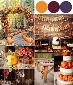Hot Fall Wedding Colour Combinations 2014: Burgundy, Orange and Purple