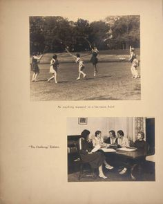 "Mount Holyoke View Book, students on lacrosse field and on editorial board of ""The Challenge"" :: Archives & Special Collections Digital Images :: circa 1933-1936"