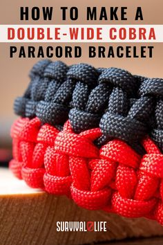 A great survivalist knows how valuable a paracord bracelet can be in a survival situation. This double-wide cobra bracelet allows you to carry multiple feet of paracord around your wrist at all times. Check out the tutorial below to learn how to make your own! Paracord Bracelet Survival, Paracord Belt, Paracord Knife, Paracord Bracelets, Survival Hacks, Survival Life, Survival Gear, Paracord Weaves, Make Your Own