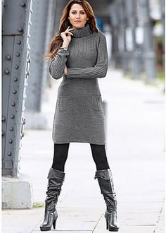 Gray top, leggings, and boots -- like this minus the tight neck and heels on the boots