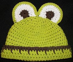 Free frog and bear hat pattern (other colors, pictured, too)