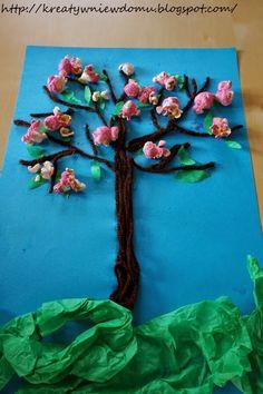 wiosenne drzewko, drzewko z popcornu, zabawy na wiosnę