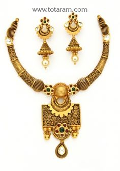 22K Gold Antique Necklace & Drop Earrings Set with Stones: Totaram Jewelers: Buy Indian Gold jewelry & 18K Diamond jewelry