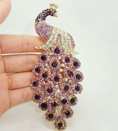 "4.92"" New Gorgeous Peacock Bird Purple Rhinestone Crystal Art Deco Style Gold-plated Brooch Pin"