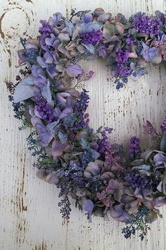 Heart wreath would make a fab focal point hung up on the wall behind the registrar Wreath Crafts, Diy Wreath, Door Wreaths, Stick Wreath, Hydrangea Wreath, Floral Wreath, Purple Wreath, Silk Flowers, Spring Flowers