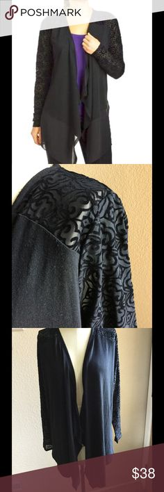 New  August Silk long flocked cardigan Size Large New w tags, see pics, long sleeve, open front, long hem, loose fit, Hi-low hem, mesh sleeves, knit: 65% polyester, 35% Rayon, Mesh: 94% polyester, 6% Spandex, woven: 100% polyester. august silk Sweaters Cardigans