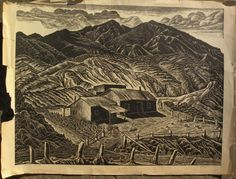 """INA ANNETTE (1901-1990) linocut print """"Sheep Ranch"""" New Mexico by from jbfinearts on Ruby Lane"""