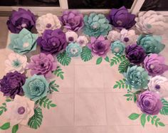 Paper flower wall 8x10 custom order. by PaperstoPetals on Etsy
