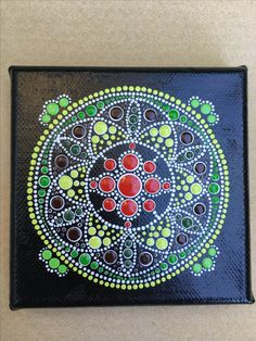 Circle of Life using a 4x4 inch canvas with coloured dots.