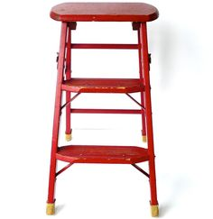 Vintage 1940s Wood Step Ladder with Original Red by marybethhale, $120.00
