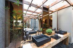 Wood Bath, Outdoor Bathrooms, Bath Tiles, Trellis, Canning, Landscape, Instagram Posts, Outdoor Decor, Design