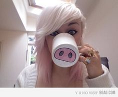 So funny! Buy white mugs and paint funny things on them! (Pigs nose, Mustaches, etc...) I want to do this too.