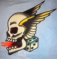 Sailor Jerry Brand Women 039 s Tattoo Flash T Shirt Skull Wings Pin Up ...