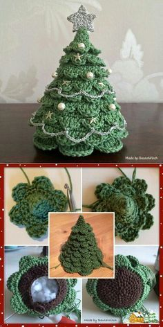 Tutorial, hæklet juletræ med pynt..