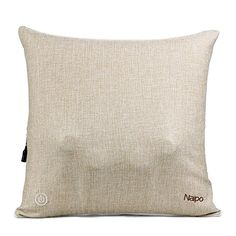 Naipo Cordless Back Massager Deep Shiatsu Massage Throw Pillow with Heating and Linen Cover for Car, Home and Office Use