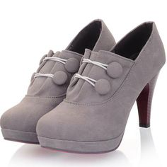 Buttons Decorated Grey Chunky Platform Suede Pumps