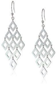 """Sterling Silver Large Diamond-Shape Drop Earrings, 2.2"""" from Amazon Curated Collection available at joyfulcrown.com"""