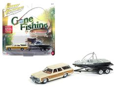 """1973 Chevrolet Caprice Cream with Wood Grain with Boat and Trailer """"Gone Fishing"""" 1/64 Diecast Model Car by Johnny Lightning - Brand new 1:64 scale car model of 1973 Chevrolet Caprice Cream with Wood Grain with Boat and Trailer """"Gone Fishing"""" die cast car model by Johnny Lightning. Limited Edition to 2004pc. Detailed Interior, Exterior. Metal Body. Comes in a blister pack. Officially Licensed Product. Dimensions Approximately L-6 Inches Long.-Weight: 2. Height: 6. Width: 11. Box Weight: 2…"""